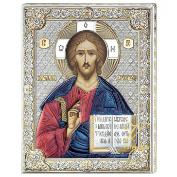 Подарочная посеребренная икона «Господь Вседержитель», 12х16 см