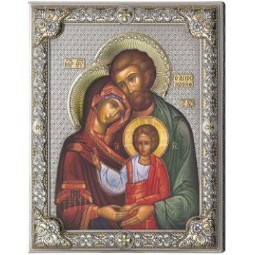 Подарочная посеребренная икона «Святое семейство»