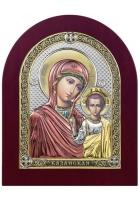 Казанская икона Божья Матерь, посеребренная