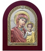 Казанская икона Божия Матерь, посеребренная