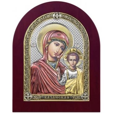 Посеребрённая икона Казанской Божией Матери