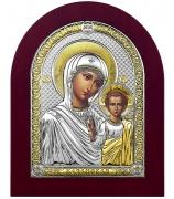 Икона «Казанская Божья Матерь», посеребренная