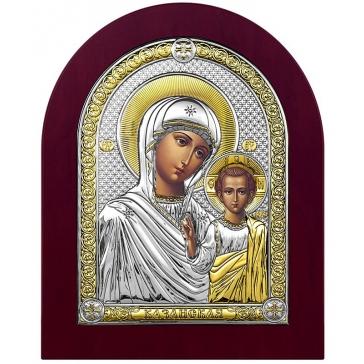Посеребрённая икона «Казанская Божья Матерь», Италия