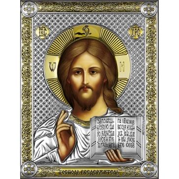 Посеребренная икона «Господь Вседержитель» на подставке, Италия
