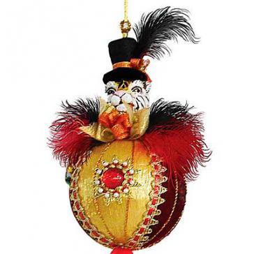 Новогоднее украшение из текстиля «Тигр на шаре», символ 2022 года