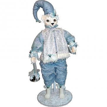 Коллекционная новогодняя кукла «Кошка с колокольчиком»