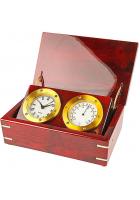 Часы и термометр в деревянной шкатулке