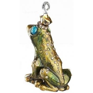 Стеклянная елочная игрушка «Лягушка» с хедожественной росписью, ручная работа