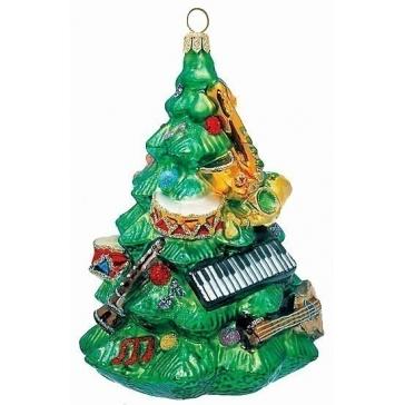 Ёлочная игрушка с художественной росписью «Елочка с музыкальными инструментами»