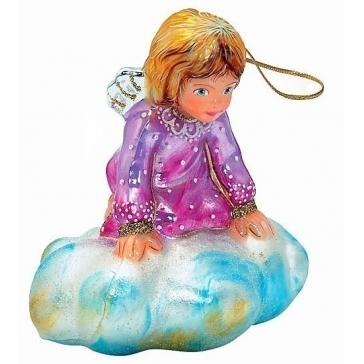 Стеклянная ёлочная игрушка «Ангел на облаке»