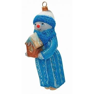 Стеклянная елочная игрушка со стразами Сваровски «Снеговик со скворечником»