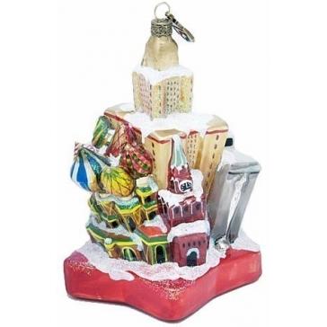 Стеклянная ёлочная игрушка ручной работы «Зимняя столица»