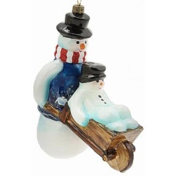 Елочная игрушка ручной работы «Снеговик с тачкой», из стекла