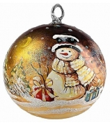 Елочный шар «Снеговик с подарками»