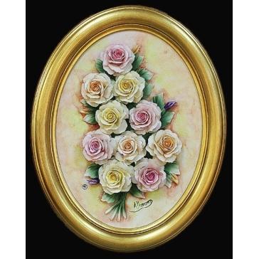 Декоративное фарфоровое панно «Розы»