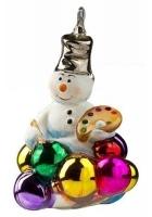 Елочная игрушка «Снеговик с новогодними шарами»