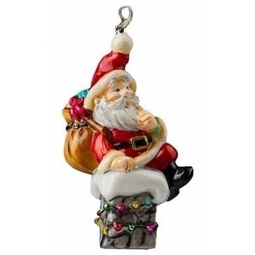Елочная игрушка из стекла «Санта на трубе», 13х7 см