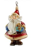 Елочная игрушка «Санта с презентом в руках»