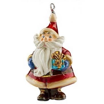 Польская елочная игрушка из стекла «Санта с презентом в руках»