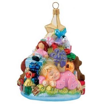 Елочная игрушка польского производства «Малышка и елочка с подарками», 11х7,5 см