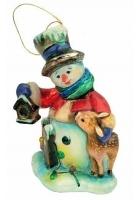 Елочная игрушка «Снеговик с оленем»