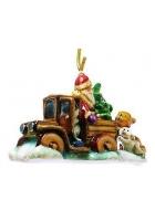Елочная игрушка «Дед Мороз на грузовике»