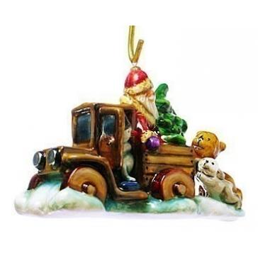 Елочная игрушка «Дед Мороз на грузовике» в фирменной упаковке