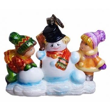 Ёлочная игрушка из стекла «Лепим снеговика», производство Польша