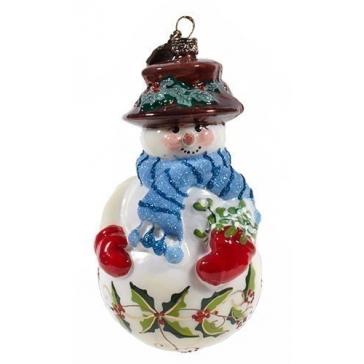 Елочная игрушка «Мальчик-снеговик», 11х8 см