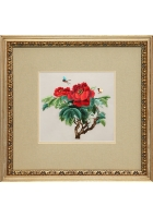 Шелковая картина «Пион королева Виктория»