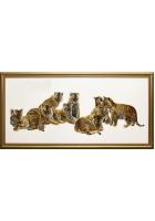 Шелковая картина «Тигрята»