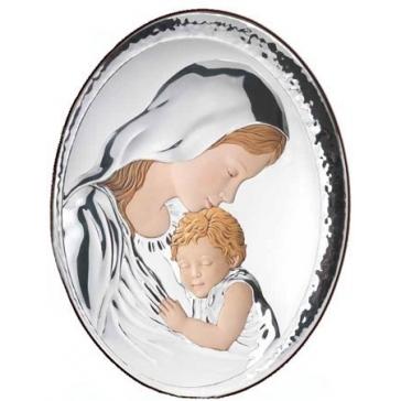 Подарочное панно посеребренное «Мадонна с младенцем»
