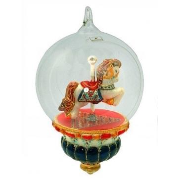 Елочная игрушка-глоба «Качалка-лошадка», 16х12 см