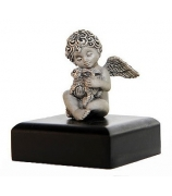 Серебряный сувенир «Ангелочек с кроликом»