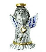 Серебряный сувенир-колокольчик «Ангелочек с сердечком»