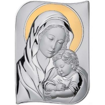 Миниатюрное посеребренное панно «Мадонна с младенцем»