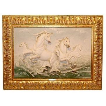 Фарфоровое панно «Бегущие кони», Италия.