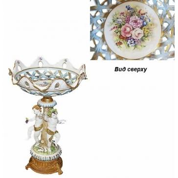 Фарфоровая ваза для фруктов «Ангелочки с виноградом»