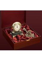 Подарочный набор. Часы и подсвечник из бронзы.