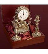 Подарочный набор: часы + подсвечник 2 шт.