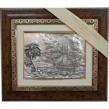 Подарочная картина с посеребрением «Корабли»
