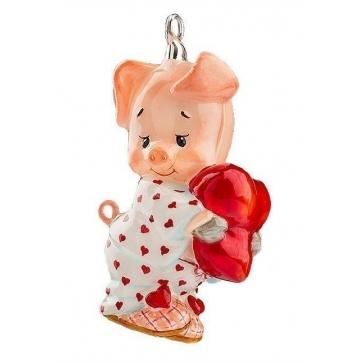 Стеклянная елочная игрушка «Поросенок в пижаме», 9х5 см