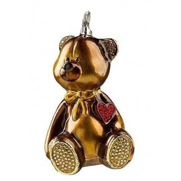 Елочная игрушка «Плюшевое сердце» с кристаллами Сваровски, Польша