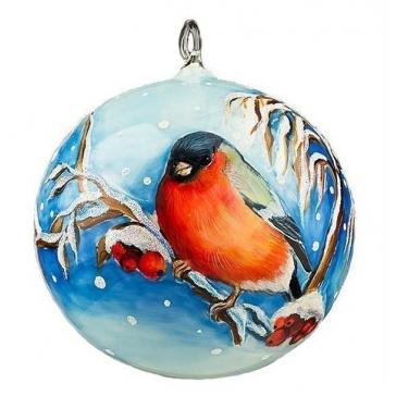 Елочный шар «Снегирь с рябиной», ручная роспись