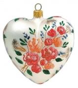 Елочный шар-сердце «Цветы»