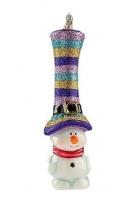 Елочная игрушка «Снеговик-цветной цилиндр»