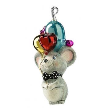 Стеклянная ёлочная игрушка «Мышка с воздушными шариками», символ 2020 года