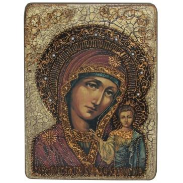 Подарочная икона «Казанская Божья Матерь» на доске мореного дуба.