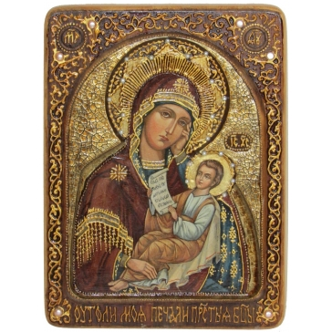 Живописная икона «Утоли моя печали», на кипарисе