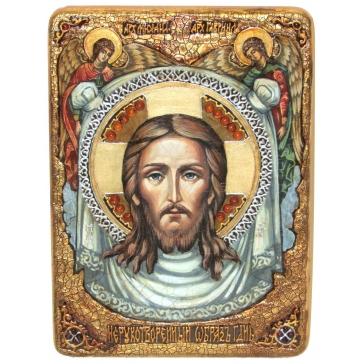 Живописная икона «Спас Нерукотворный» на кипарисовой доске.